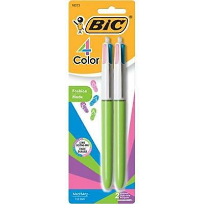 BIC 4 Color Fashion Ball Pen, Medium Point (1.0mm), Assorted, 2-Count New