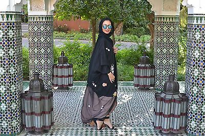 Black Floral Butterfly Khaleeji Abaya Size Small Brand New With Tags