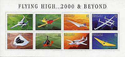Grenadines Grenada 1998 MNH Airplanes 8v MS Helicopters Aviation Concorde Stamps