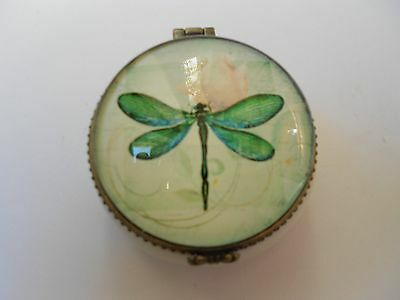 Vintage Trinket Or Pill Box - Dragonfly Pattern - Round