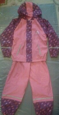 GIRLS LUPILU HOODED RAINCOAT and trousers rsin/snow suit AGE 6-8