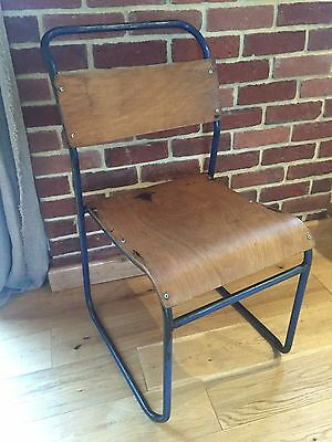 Vintage Industrial Chair, stackable, tubular steel frame, plywood, 10 available.