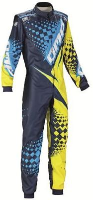 OMP KS-2R Kart Suit child BLUE ACID YELLOW youth karting CHEAP DELIVERY NEW 2017