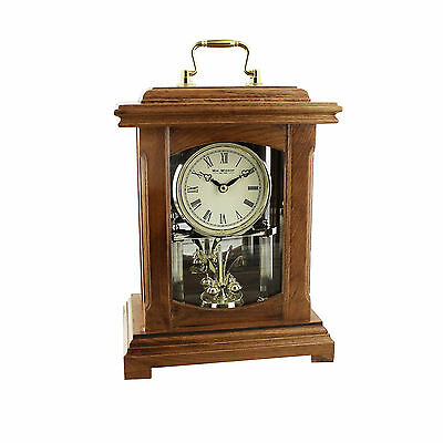 Wooden Wood Brown Mantel Carriage Table Clock Lantern Style