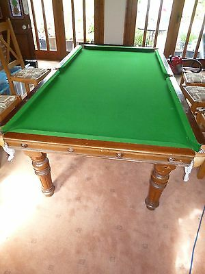 Antique Riley snooker dining table. Ornate legs. Removable dining top.