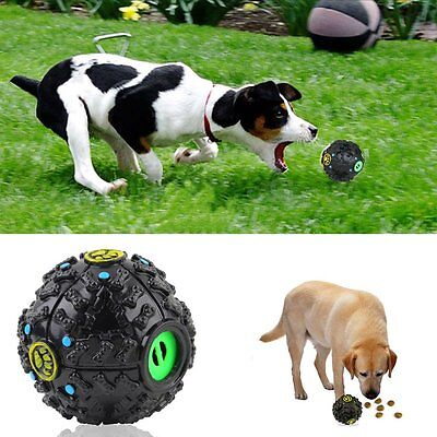 Large Giggle Ball Pet Dog Tough Treat Training Chew Sound Activity Toy Squeaky V