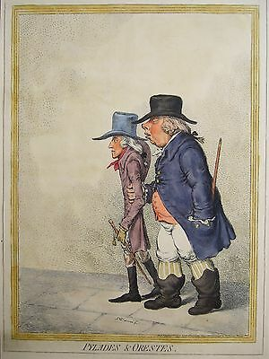 James Gillray print of Pylades & Orestes (Prince of Orange) early 19C reissue