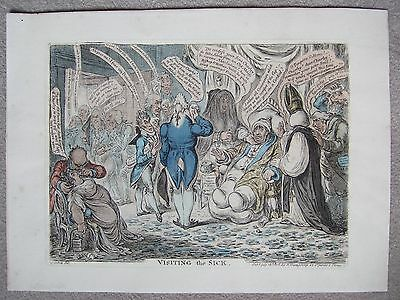 James Gillray print of Visiting the Sick with Prince Regent visiting Charles Fox