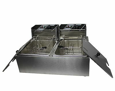 FoxHunter 20L Stainless Steel Twin Basket Electric Deep Fryer Commercial Chip