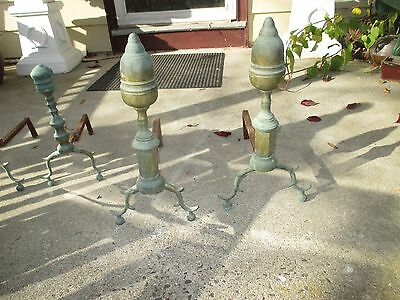 ANTIQUE PERIOD I8 th c AMERICAN  ANDIRONS N.Y. BRASS ACORN TOP FACETED PLINTHS
