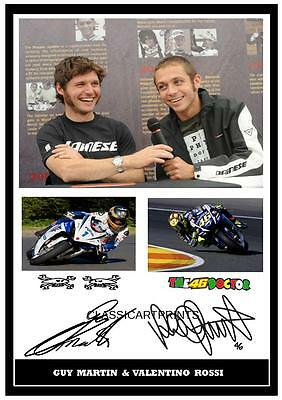 89#  Guy Martin And Valentino Rossi  Signed  A4 Photograph ++