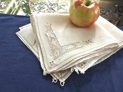 "6 Antique Light Ecru Italian Fine Linen 12"" Fancy Tea Napkins Punto Antico Lace"