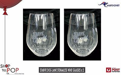 Starve Dog Lane Etched stemless wine glasses 2 pack BNWOB 14x8cm 400ml Adelaide