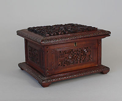 Early 20th Century Chinese Hardwood Box with Dragons to Lid
