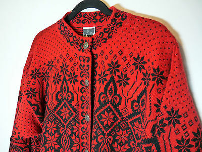 Dale of Norway red black wool sweater cardigan vest - Large