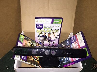 Kinect Sensor Xbox 360 With 3 Games Adventures, Sports, Dance - 24 Hour Dispatch