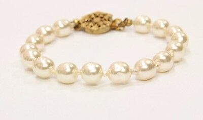 "MIRIAM HASKELL VINTAGE Authentic Signed Baroque 8"" Pearl Bracelet 660738"