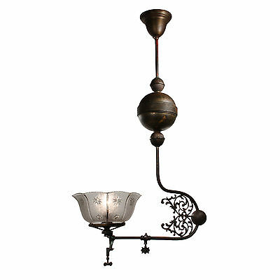 Antique Brass Gas Pendant with Original Shade, Late 19th Century, NC2411