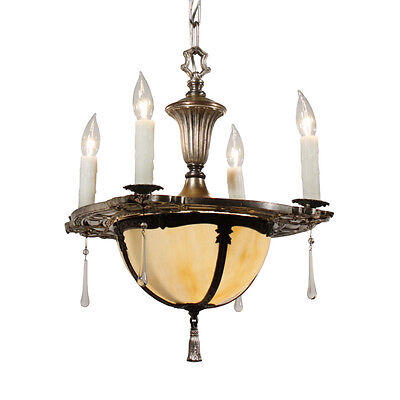 Exquisite Antique Five-Light Chandelier with Original Shade, NC1822