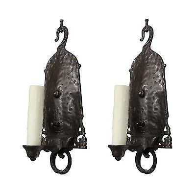 Fantastic Pair of Antique Tudor Single-Arm Sconces, c.1920, NSP1048