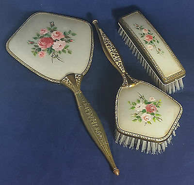 Beautiful Vintage Set of Hand Mirror and 2 Brushes.