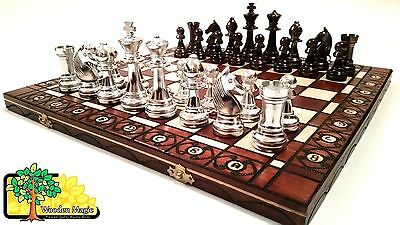 Silver Stauton  - Large 40cm / 16in Handcrafted Classic Plastic Chess Set