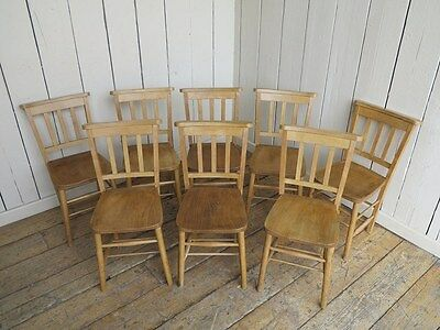 Set of 8 Antique Wooden Church Chairs - Reclaimed Old Antique Chapel Chairs