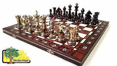 Gold Stauton  - Large 40cm / 16in Handcrafted Classic Plastic Chess Set