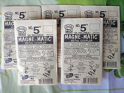 Kadee HO No.5 Magne-Matic Metal Coupler - 5 Packets of 2 Pairs Each