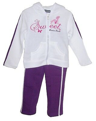 GIRLS TRACKSUIT WHITE & PURPLE SWEET DIVINE JOG SET HOODED TOP & JOGGERS SET.4yr