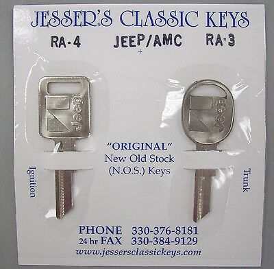 Very Rare Orignal Jeep / AMC Keys 1973 - 1986 Nickel NOS New Old Stock
