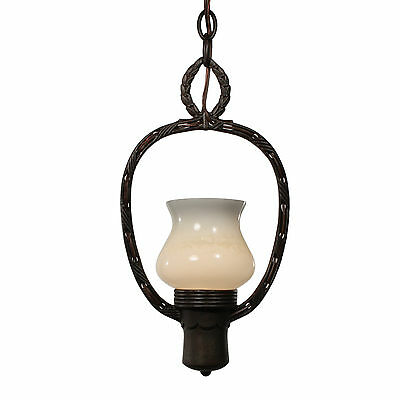 Antique Art Deco Pendant Light with Sit-In Glass Shade, NC2392