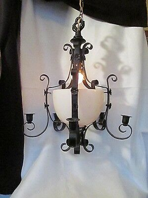 Antique Wrought Iron Milk Glass Chandelier 6 Light For RESTORATION