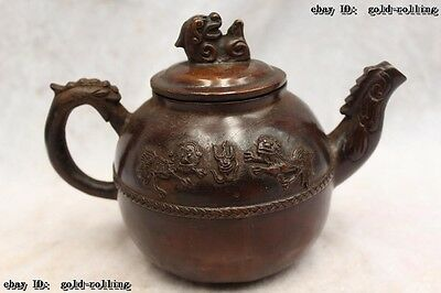 "6""Chinese Purple Bronze carved excellent lifelike Lion animal flagon water jug"