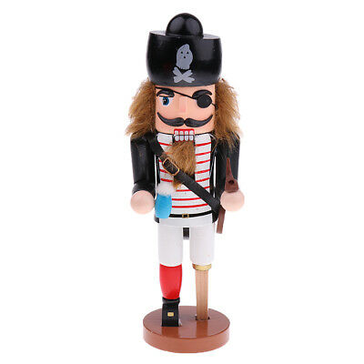 25cm Wooden Nutcracker Vintage Pirate Table Statue Christmas Birthday Kids Gifts