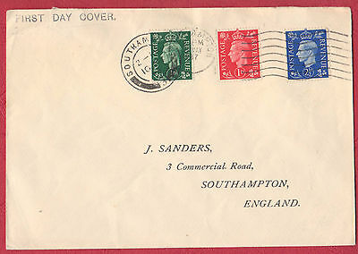 Great Britain FDC - Dark Colours 1/2d, 1d & 2 1/2d on plain cover - 10 MAY 1937