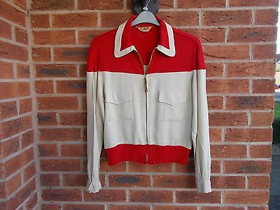 "Vintage 50s Red Corduroy & Cream Linen Ricky Gab Jacket * s M * 38""C  ROCKABILLY"