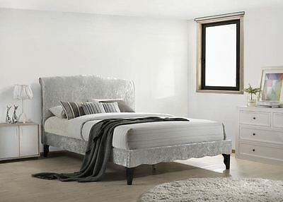 Carlo French Provence Double Bed Frame 4FT6 135cm Ice Grey Crushed Velvet Fabric