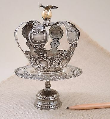 Vintage Solid 800 Silver Repousse Santo Crown & Stand Gold Bird Antique Portugal