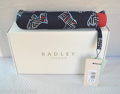 RADLEY 'Kenwood' Blue Telescopic Umbrella with Cover Gift Boxed New!