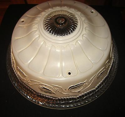 Vintage Cream Color Glass Ceiling Light Fixture Shade - Floral And Leaf Pattern