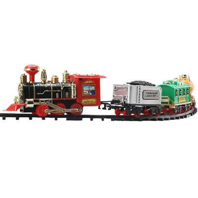 Lifelike Electric Track Train w/ Real Smoke & Sound for Kids Toy Xmas Gift