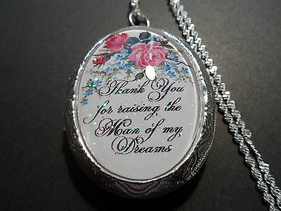 """Glass Cameo Thank You For Raising The Man Of My Dreams  Locket 26"""" Chain"""