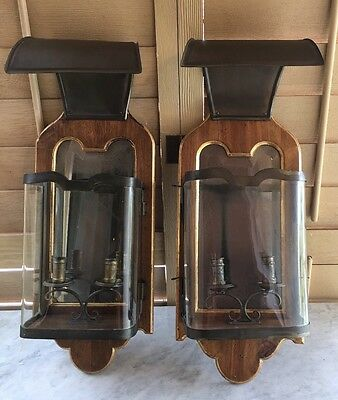 Vintage mid C. Modern Italian Carriage Lantern antiqued Candle Wall Sconces