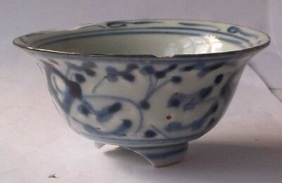 C19Th Chinese Blue And White Decorated Tea Bowl A/f