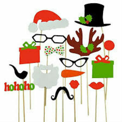 New 17pc Christmas Selfie Prop Set Selfie Prop Photo Booth Kit For Party