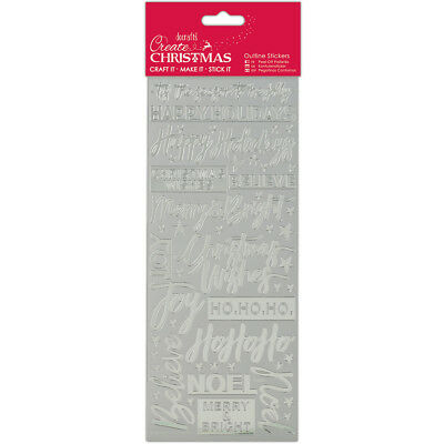 Papermania Create Christmas Outline Stickers Silver Contemporary Christmas Senti