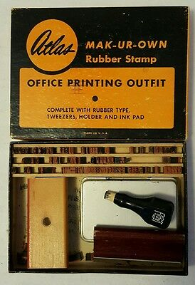 atlas mak-ur-own office printing outfit rubber stamp kit vintage in box