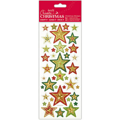 Papermania Create Christmas Foiled & Embossed Stickers Christmas Stars PM806900