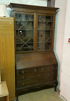 Large Dark Wood Bookcase Writing Bureau Display Cabinet Ref 7941